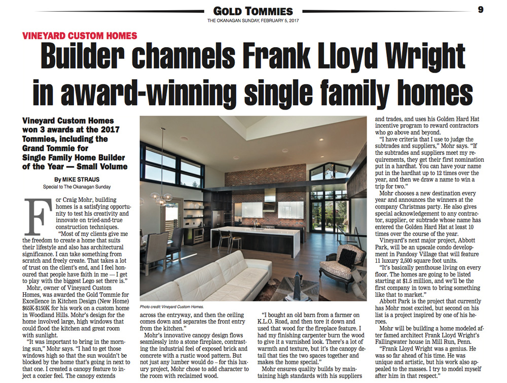 GoldTommies CraigMohr Builder Channels Frank Lloyd Wright in Award Winning Single Family Homes